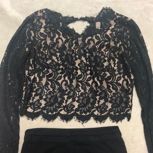 bebe Dresses - Laced Bebe top and matching skirt